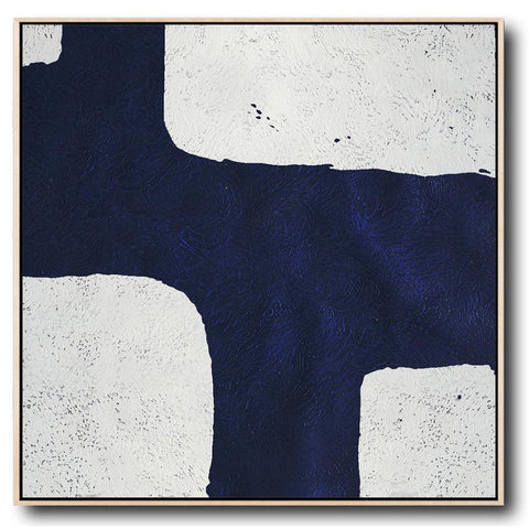 Navy and White Painting #NV2A-Minimal Art-CZ Art Design(Celine Ziang Art)