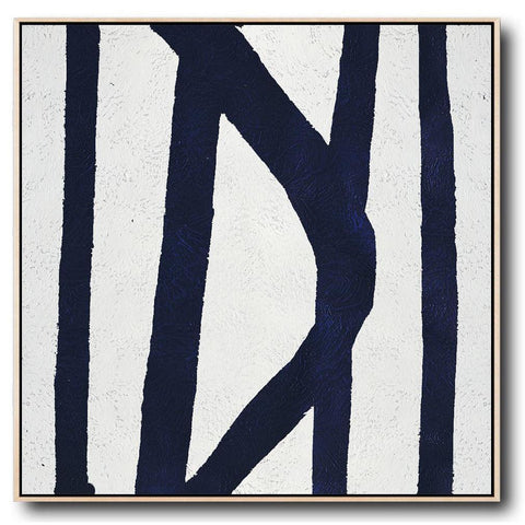 Navy and White Painting #NV38A-Minimal Art-CZ Art Design(Celine Ziang Art)