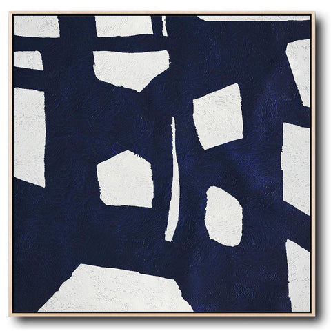 Navy and White Painting #NV57A-Minimal Art-CZ Art Design(Celine Ziang Art)