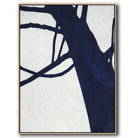 Navy Blue Minimalist Art #NV194B-Minimal Art-CZ Art Design(Celine Ziang Art)