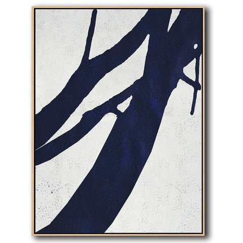 Navy Blue Minimalist Art #NV195B-Minimal Art-CZ Art Design(Celine Ziang Art)