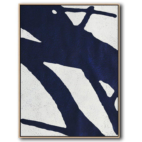 Navy Blue Minimalist Art #NV201B-Minimal Art-CZ Art Design(Celine Ziang Art)