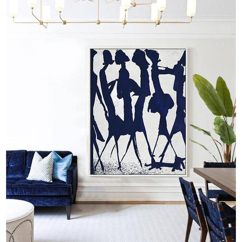 Navy Blue Minimalist Art #NV258B-Minimal Art-CZ Art Design(Celine Ziang Art)