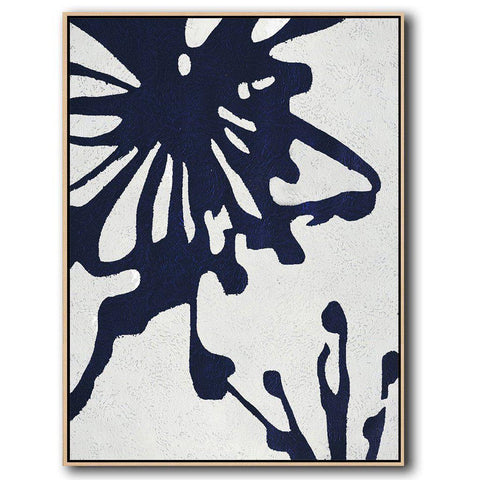 Navy Blue Minimalist Art #NV285B-Minimal Art-CZ Art Design(Celine Ziang Art)
