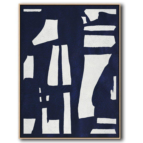 Navy Blue Minimalist Art #NV299B-Minimal Art-CZ Art Design(Celine Ziang Art)
