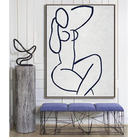 Navy Blue Nude Art #NV254B-Minimal Art-CZ Art Design(Celine Ziang Art)