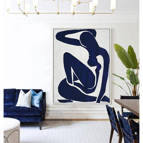Navy Blue Nude Art #NV271B-Minimal Art-CZ Art Design(Celine Ziang Art)