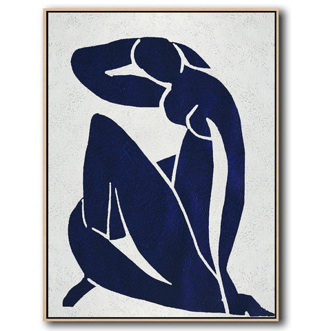 Navy Blue Nude Art #NV272B-Minimal Art-CZ Art Design(Celine Ziang Art)
