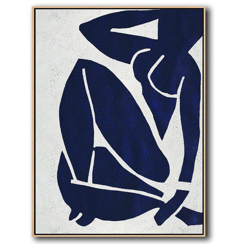 Navy Blue Nude Art #NV273B-Minimal Art-CZ Art Design(Celine Ziang Art)