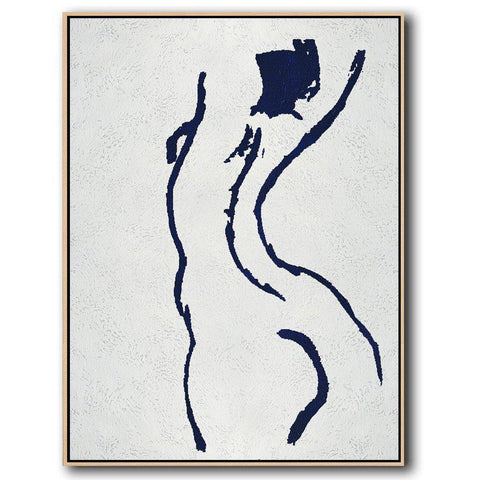 Navy Blue Nude Art #NV277B-Minimal Art-CZ Art Design(Celine Ziang Art)