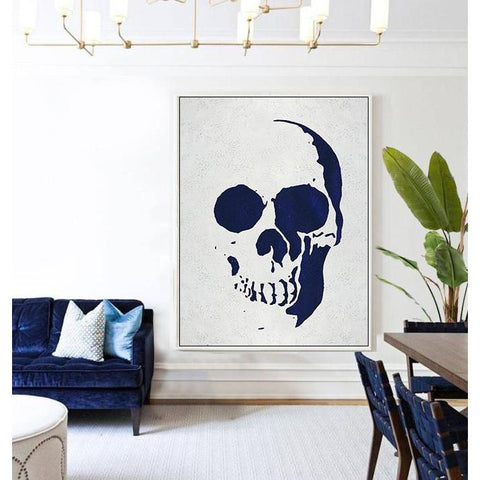 Navy Blue Skull Art #NV278B-Minimal Art-CZ Art Design(Celine Ziang Art)