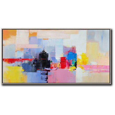 Panoramic Palette Knife Abstract Skyline Art #C31D-Abstract Art-CZ Art Design(Celine Ziang Art)