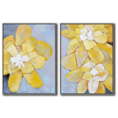 Set of 2 Abstract Flower Painting #S136-Abstract Art-CZ Art Design(Celine Ziang Art)