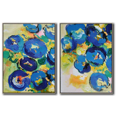 Set of 2 Abstract Flower Painting #S97-Abstract Art-CZ Art Design(Celine Ziang Art)