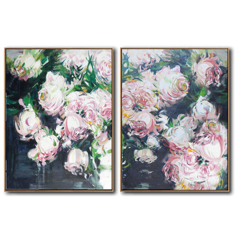 Set of 2 Abstract Flowers Oil Painting #S171-Abstract Art-CZ Art Design(Celine Ziang Art)