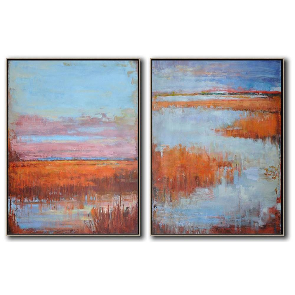 6eec6b6c3 Set of 2 Abstract Landscape Oil Painting #S142-Abstract Art-CZ Art Design  ...
