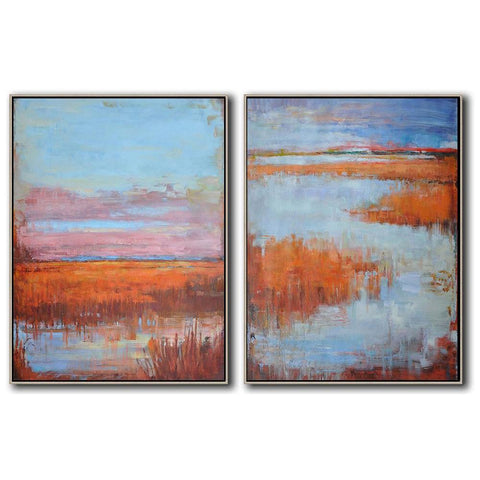 Set of 2 Abstract Landscape Oil Painting #S142-Abstract Art-CZ Art Design(Celine Ziang Art)