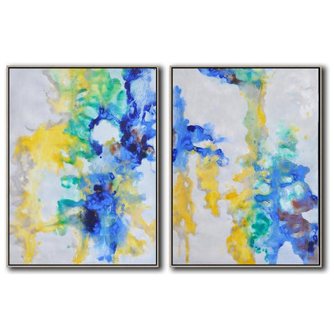 Set of 2 Abstract Landscape Oil Painting #S143-Abstract Art-CZ Art Design(Celine Ziang Art)