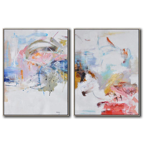 Set of 2 Abstract Landscape Oil Painting #S157-Abstract Art-CZ Art Design(Celine Ziang Art)