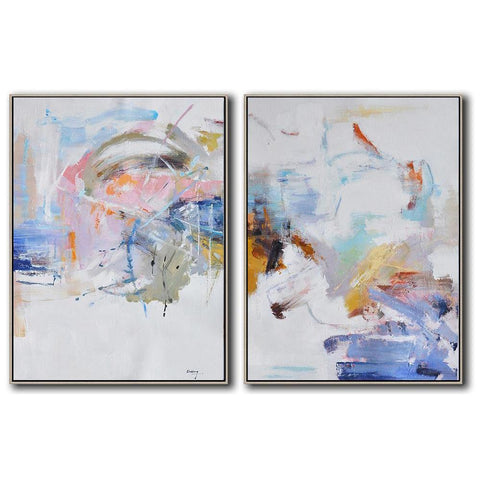 Set of 2 Abstract Landscape Oil Painting #S158-Abstract Art-CZ Art Design(Celine Ziang Art)