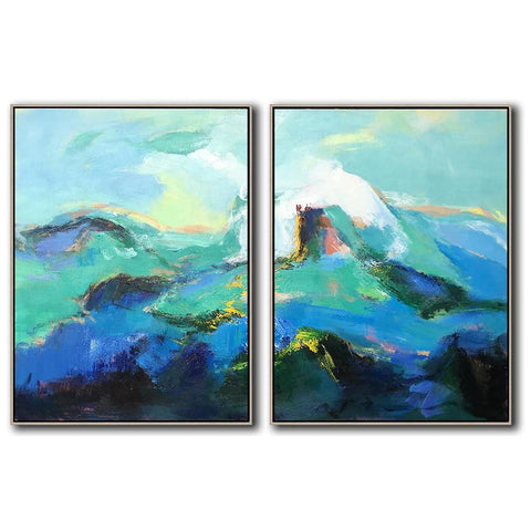 Set of 2 Abstract Landscape Painting #S95-Abstract Art-CZ Art Design(Celine Ziang Art)