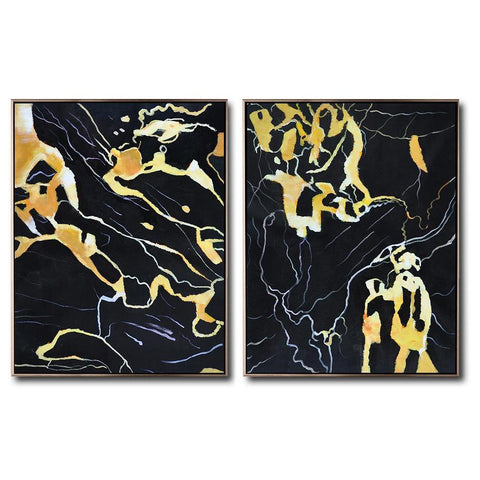 Set of 2 Abstract Marble Painting #S165-Abstract Art-CZ Art Design(Celine Ziang Art)