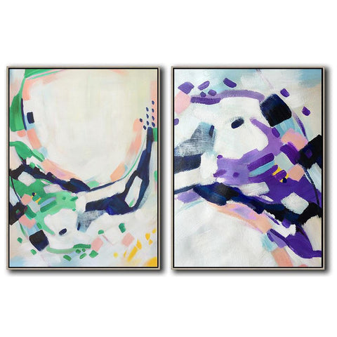 Set of 2 Abstract Painting #S118-Abstract Art-CZ Art Design(Celine Ziang Art)