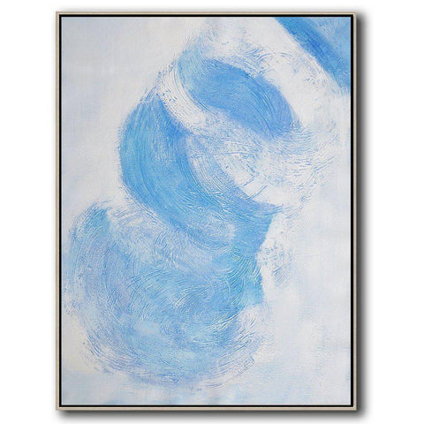 Set of 2 Blue Minimalist Painting #S138-Minimal Art-CZ Art Design(Celine Ziang Art)