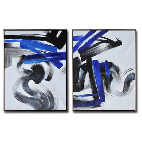 Set of 2 Blue Minimalist Painting #S163-Minimal Art-CZ Art Design(Celine Ziang Art)