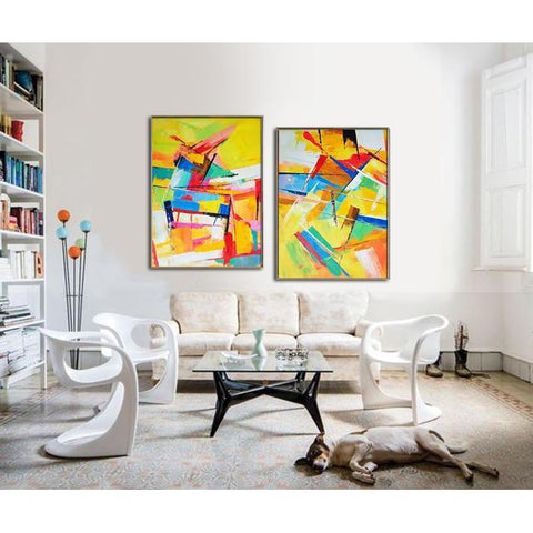 Set of 2 Contemporary Art #S123-Contemporary Art-CZ Art Design(Celine Ziang Art)