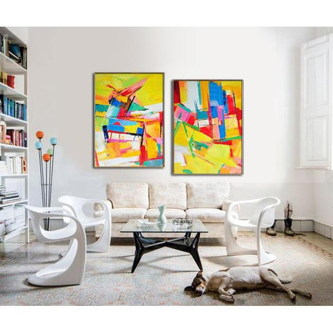 Set of 2 Contemporary Art #S124-Contemporary Art-CZ Art Design(Celine Ziang Art)