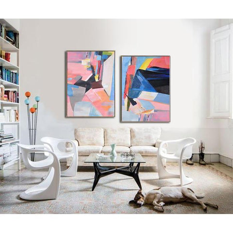 Set of 2 Contemporary Art #S126-Contemporary Art-CZ Art Design(Celine Ziang Art)