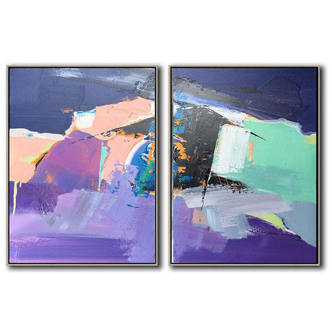 Set of 2 Contemporary Art #S132-Contemporary Art-CZ Art Design(Celine Ziang Art)