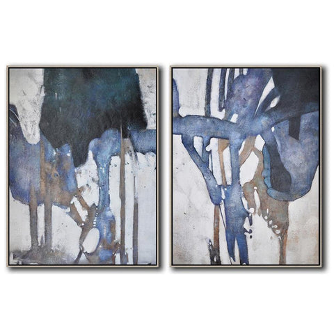 Set of 2 Contemporary Painting #S114-Contemporary Art-CZ Art Design(Celine Ziang Art)
