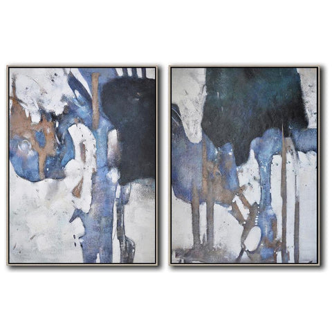 Set of 2 Contemporary Painting #S115-Contemporary Art-CZ Art Design(Celine Ziang Art)