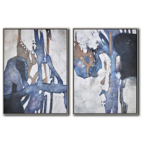 Set of 2 Contemporary Painting #S116-Contemporary Art-CZ Art Design(Celine Ziang Art)