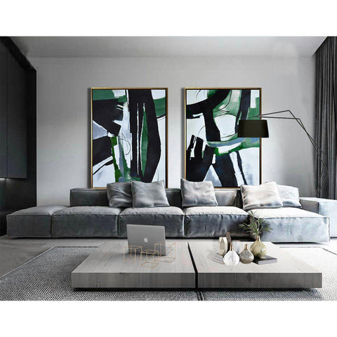 Set of 2 Green Minimalist Art #S170-Minimal Art-CZ Art Design(Celine Ziang Art)