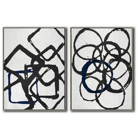 Set of 2 Minimal Art #S27-Minimal Art-CZ Art Design(Celine Ziang Art)