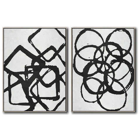 Set of 2 Minimal Art #S29-Minimal Art-CZ Art Design(Celine Ziang Art)