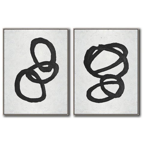 Set of 2 Minimal Art #S39-Minimal Art-CZ Art Design(Celine Ziang Art)
