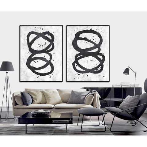 Set of 2 Minimal Art #S41-Minimal Art-CZ Art Design(Celine Ziang Art)