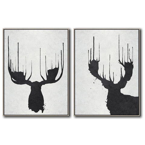 Set of 2 Minimal Art #S6-Minimal Art-CZ Art Design(Celine Ziang Art)
