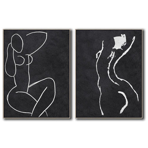 Set of 2 Minimal Art #S63-Minimal Art-CZ Art Design(Celine Ziang Art)