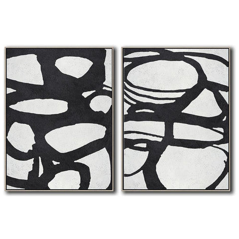 Set of 2 Minimal Art #S67-Minimal Art-CZ Art Design(Celine Ziang Art)