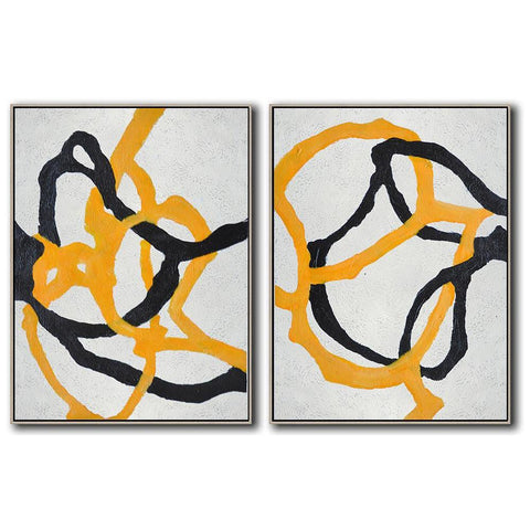 Set of 2 Minimal Art #S71-Minimal Art-CZ Art Design(Celine Ziang Art)