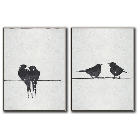 Set of 2 Minimal Bird Art #S160-Minimal Art-CZ Art Design(Celine Ziang Art)