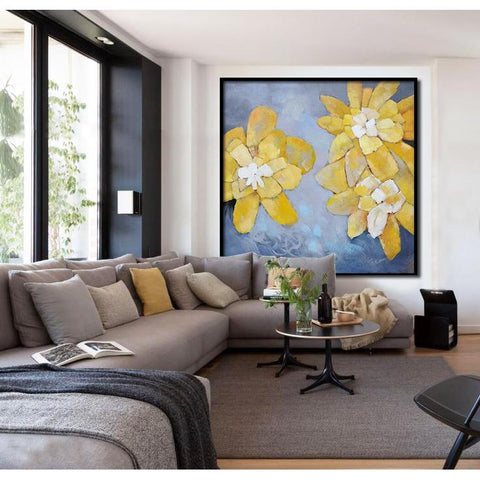 Square Abstract Flower Painting #X42A-Abstract Art-CZ Art Design(Celine Ziang Art)