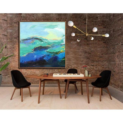 Square Palette Knife Abstract Mountains #C16A-Abstract Art-CZ Art Design(Celine Ziang Art)