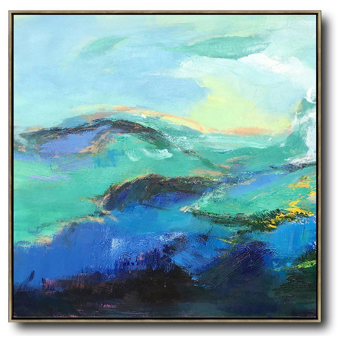 Square Palette Knife Abstract Mountains C16a