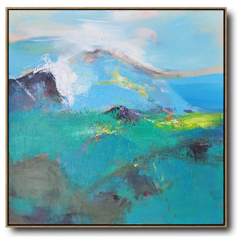 Square Palette Knife Abstract Mountains #C65A-Abstract Art-CZ Art Design(Celine Ziang Art)
